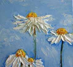 "Original Oil Painting, 8"" Daisy Flowers Painting, Miniature Floral Painting, Impasto Oil Painting, White Blue Yellow Deep Canvas"