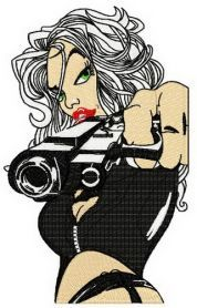 Sexy girl and gun machine embroidery design. Machine embroidery design. www.embroideres.com