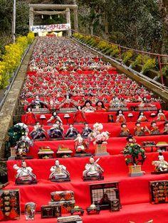Giant Hina-matsuri, Many hina dolls were gathered at a Shrine steps. Japanese tradition.