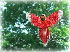 3D Beaded Bird 018 Cardinal Suncatcher / Window by AlulaCreations