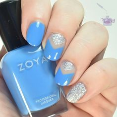 Negative space single chevron: Zoya Tilly, Zoya Dory and What's Up Nails chevron vinyls.