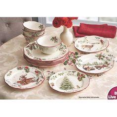Better Homes and Gardens Heritage 12-Piece Dinnerware Set - Walmart.com  sc 1 st  Pinterest & Vintage Melamine Christmas Tray Melamine Dinnerware Melmac Dishes ...