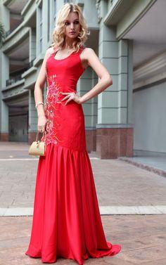 Sleeveless High Neck China Red Satin Long Evening Dress
