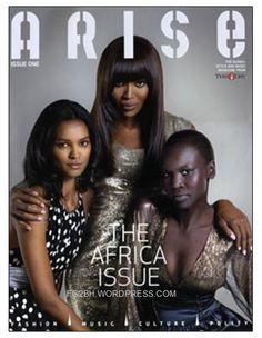 Naomi Campbell, Liya Kebede and Alek Wek on the cover of Arise.