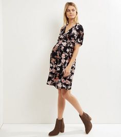 c71f02e19c Maternity Black Floral Print Wrap Dress