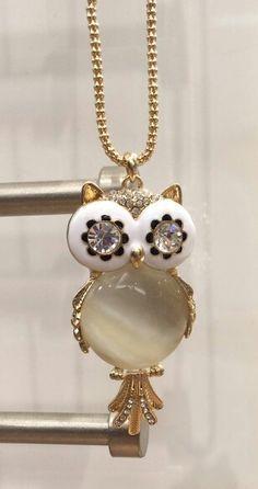 Retro Vintage Cute Crystal CZ Gem Owl Pendant Long Necklace Black Colour UK Sell