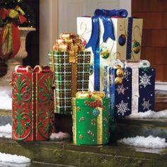 Set of Five Fiber-optic Gift Boxes, Who are we kidding? Outdoor Christmas Gifts, Christmas Gift Box, Outdoor Christmas Decorations, Holiday Gifts, Christmas Holidays, Outdoor Decor, December Holidays, Winter Holidays, Seasonal Decor