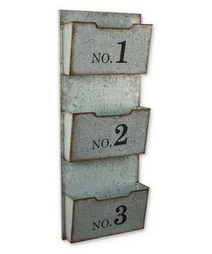 three pocket numbered galvanized metal wall organizer by lone