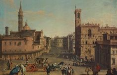 Painting of the Piazza San Firenze in the 18th century by Giuseppe Zocchi. On the left the Badia Fiorentina and on the right the Bargello. In the background de cupola of the Duomo. Florence