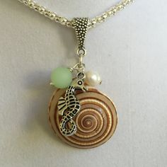 Seahorse Sea Shell Pearl and Sea Glass Necklace by joytoyou41