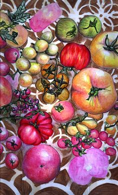 Heirloom Tomatoes Kitchen Art Print by PowellArtAndDesign on Etsy