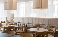 Three floors fuse Japanese minimalism with Scandinavian design from Norm Architects in London's new Sticks 'n' Sushi restaurant in Chelsea Sushi Restaurants, Restaurants In Chelsea, Restaurant Paris, Restaurant Design, Restaurant Interiors, Restaurant Furniture, Restaurant Ideas, Restaurant Tables, Cafe Bar