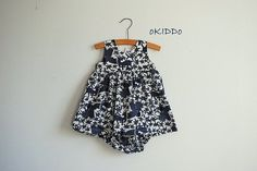 """NEW at """"oKIDDo""""! Baby Girl Summer Dress and Bloomers in Navy and White - Size 9-12m"""