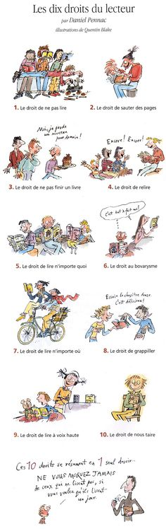 Les droits du lecteur Quentin Blake, French Teacher, Teaching French, Book Writer, Book Authors, Books To Read, My Books, French Classroom, Little Library