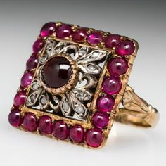 Jewelry Diamond : Antique Spessertine Garnet & Ruby Ring w/ Filigree Details Silver & . - Buy Me Diamond Victorian Jewelry, Antique Jewelry, Vintage Jewelry, Art Deco Diamond Rings, Emerald Rings, Ruby Rings, Jewelry Accessories, Jewelry Design, Garnet Jewelry