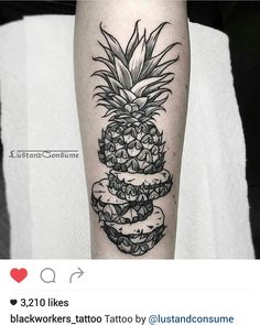 Black and gray pineapple tattoo by @lustandconsume
