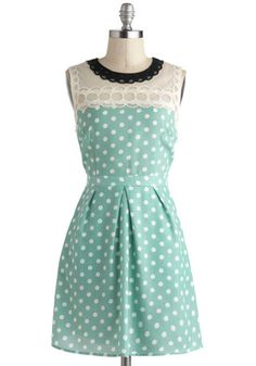 Draw a Cloud Dress - Mint, White, Polka Dots, Lace, Casual, A-line, Sleeveless, Pockets, Short, Daytime Party, Vintage Inspired, Pastel