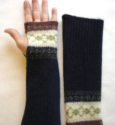 Fingerless gloves arm warmers Upcycled from a by SewFreshAgain