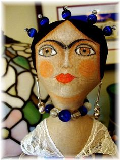 Fairy Dust - by Alma Lee from Doll Art Artist Made Art Gallery Frida Kahlo Diego Rivera, Frida And Diego, Fabric Dolls, Paper Dolls, Frida Art, Puppet Toys, Bottle Cap Crafts, Doll Painting, Soft Dolls