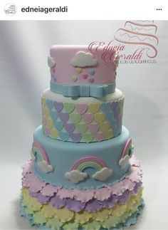 This would be such a cute Rainbow/ Cloud cake Cake Icing, Eat Cake, Cupcake Cakes, Pretty Cakes, Cute Cakes, Amazing Cakes, Beautiful Cakes, Cake For Boyfriend, Cloud Cake