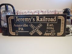Family Electric Train Station Sign Personalized by TKWoodcrafts, $49.95