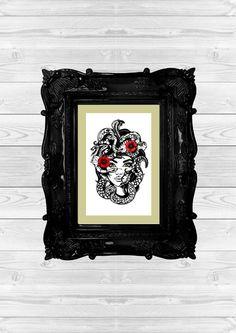 My Medusa tattoo style papercut ©louise dyer paperlace