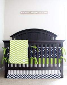 Polkadot skirt and no bumper?  Custom Crib Bedding Lime Green Chevron Navy Blue by GiggleSixBaby