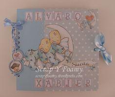 Si te gustó el Album Botones para Ana y Paula que realicé con la colección de bebés para niñas de DaykaTrade, te gustará el que he creé pensando en los mellizos Alvaro y Xabier. Pasé algún tiempo p…