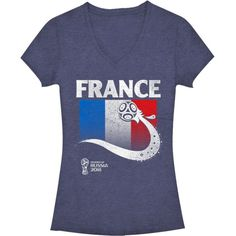 2f76773db16 Fifth Sun Women's FIFA 2018 World Cup Russia France Trophy Logo Navy T-Shirt