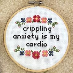 Crippling anxiety is my cardio cross stitch pattern Funny Cross Stitch Cute Embroidery Introvert Snarky Pattern Subversive Embroidery Small Cross Stitch, Cute Cross Stitch, Cross Stitch Borders, Counted Cross Stitch Patterns, Cross Stitching, Cross Stitch Embroidery, Cross Stitch Flowers Pattern, Naughty Cross Stitch, Subversive Cross Stitches