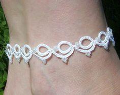 white lace bridal anklet white lace anklet lace by laceforbrides Tatting Bracelet, Tatting Jewelry, Tatting Lace, Wedding Garter Lace, Bridal Lace, Wedding Garters, Tatting Patterns, Gypsy Jewelry, Lace Making