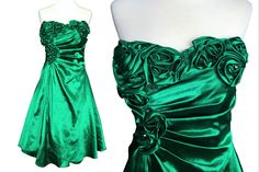 Emerald Kelly Green Satin Strapless Rosette & Crystal Trim Ruched Lace Up Back Cocktail Prom Party Dress, Xmas Mardi Gras Carnival Dress Prom Party Dresses, Holiday Dresses, Crinoline Dress, Carnival Dress, Mardi Gras Carnival, Strapless Corset, Carnival Festival, Power Dressing, Green Satin