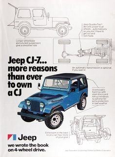 1977 Jeep CJ-7 original vintage advertisement. More reasons than ever to own a CJ. Longer wheelbase and a tuned suspension. Jeep's Quadra-Trac® delivers power to all wheels. An automatic transmission is optional. Removable top with steel doors and roll up windows for extra protection in bad weather. Extra room in the back so you can haul more of your gear. Jeep. We wrote the book on 4-wheel drive.