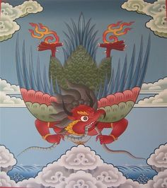Garuda, representing the fire element, said to symbolize freedom from hopes and fears.