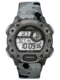 This gents Timex Expedition Cat Shock watch is made from plastic/resin and is powered by a digital chronograph quartz movement. It is fastened with a grey plastic/resin strap and has a LCD dial. The watch also has a date function. Sport Watches, Cool Watches, Watches For Men, Marathon Watch, Timex Expedition, Timex Watches, Thing 1, Casio G Shock, 100m