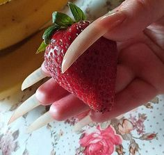 Long Natural Nails, Strawberry, Fruit, Food, Essen, Strawberry Fruit, Meals, Strawberries, Yemek