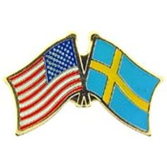American & Sweden Flags Pin