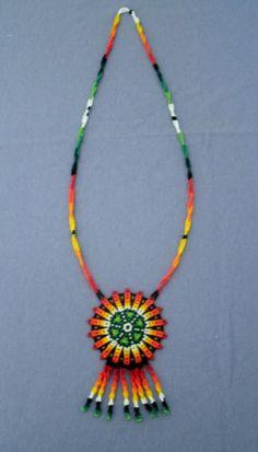 Huichol Indian Hand-beaded Necklace Beaded Jewelry, Jewelry Necklaces, Crochet Necklace, Beaded Necklace, Ethnic Design, Realistic Drawings, Loom Beading, Beadwork, Mandala