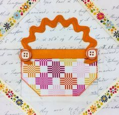 The Splendid Sampler - block 74 Button Basket designed by Karen Costello Soltys