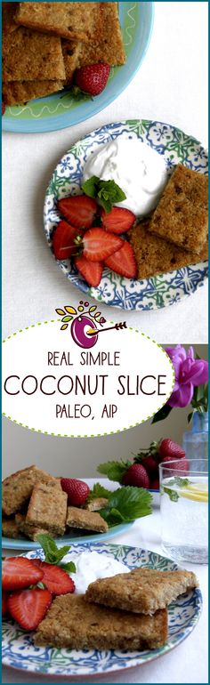 Here's a real simple coconut slice that's Paleo and AIP. Great fat snack, whip it up in minutes, bake it, feed it to the hoards. Click through, make it, share it, rate it!