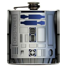 Personalized R2-D2 Custom Liquor Drinking Flask Gift 6oz. R2D2 from Star Wars featured on both sides of Flask.