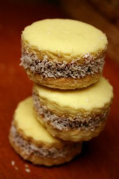 Alfajores - yummy shortbread cookies with dulce de leche (caramel) in the middle, rolled in finely shredded coconut.