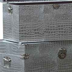 This lovely, set of three drawer storage chests are very stylish. All three are of an unusually generous size. A practical and attractive solution for clutter, they also stack inside each other.