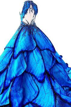 "fashion-runways: """"MAK TUMANG Blue Morpho dress "" "" This dress is life. Cute Prom Dresses, Ball Dresses, Pretty Dresses, Strapless Homecoming Dresses, Blue Ball Gowns, Blue Gown, Lace Evening Dresses, Dress Prom, Beautiful Gowns"