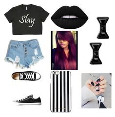 """""""Slay everyday"""" by miahwithstyles on Polyvore featuring Converse, MICHAEL Michael Kors, Lime Crime and Marc by Marc Jacobs"""