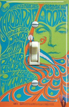 Yardbirds and the Doors at the Fillmore in San Francisco in 1967 Vintage Poster Single Switch Plate ***FREE SHIPPING*** by VintageSwitchPlates on Etsy