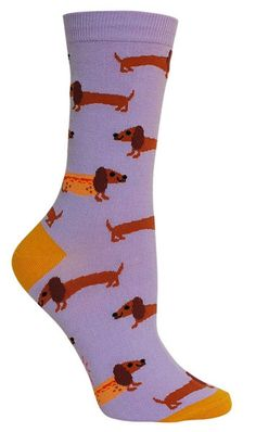 Doxies as hot dogs? Gross or awesome?  Lavender crew length socks with dachshunds and some dressed as hot dogs.  Fits women's shoe size 5-10.