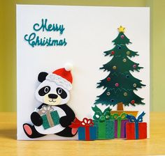 T T sitting panda by christmas tree Christmas Panda, Christmas Cards To Make, Christmas Tree, Marianne Design Cards, Personalized Greeting Cards, Childrens Christmas, Kids Cards, Cool Cards, Creative Cards