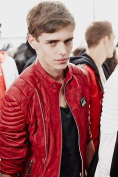 Landscapes, Leather, suit and Leather Jeans Men, Red Leather, Leather Jackets, Jordy Baan, Leather Fashion, Mens Fashion, Hommes Sexy, Male Face, Hot Boys