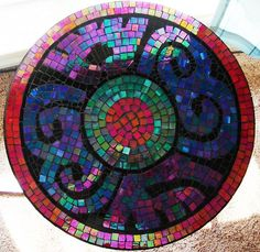 Being influenced and inspired by my Mexican heritage, I put together this design. I used one of those inexpensive round 3 leg side tables that you would normal… Mosaic Diy, Mosaic Crafts, Mosaic Glass, Mosaic Tiles, Glass Art, Stained Glass, Tiling, Fused Glass, Mosaic Projects